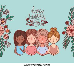 Mothers cartoons with flowers and leaves vector design