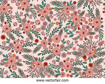 flowers and leaves background vector design