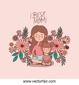 Mother and daughter cartoon with flowers and leaves vector design