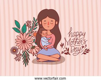 Mother and baby cartoon with flowers and leaves vector design