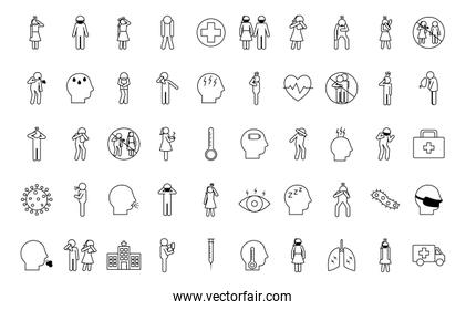 Covid 19 line style icon set vector design