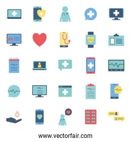 Isolated health online flat style icon set vector design