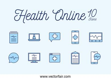 10 Isolated health online line and fill style icon set vector design