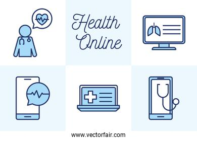 Isolated health online line and fill style icon set vector design