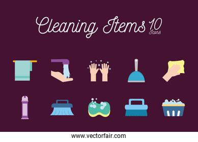10 Cleaning service items flat style icon set vector design