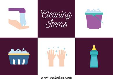 Cleaning service items flat style icon set vector design