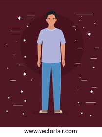 Avatar man with stars vector design