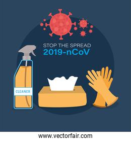 Cleaner spray tissues box and gloves for stop the spread 2019 ncov virus vector design