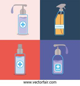 Soap dispensers and alcohol spray bottle with cross vector design