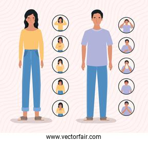 Woman and man with 2019 ncov virus symptoms vector design