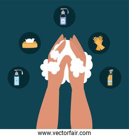 Hands washing and icon set vector design