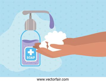Hands washing with soap dispenser vector design