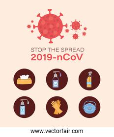 2019 ncov virus prevention typs vector design