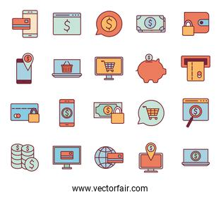 Payments online line and fill style icon set vector design