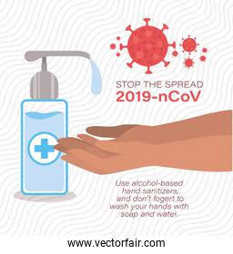 Hands washing soap dispenser and stop the spread with 2019 ncov virus text vector design