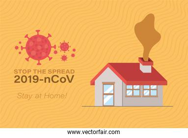 House and stop the spread with 2019 ncov virus text vector design