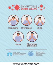 Avatar man with 2019 ncov virus symptoms vector design