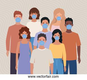 Avatar men and women with masks vector design