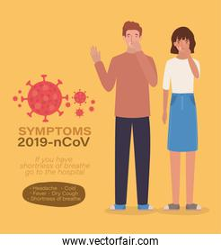 Avatar woman and man with dry cough 2019 ncov virus symptoms vector design