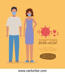 Avatar woman and man with masks 2019 ncov virus symptoms vector design