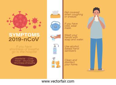 Avatar man symptoms 2019 ncov virus vector design