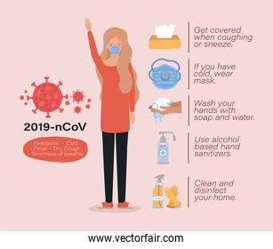 Avatar woman with 2019 ncov virus symptoms vector design