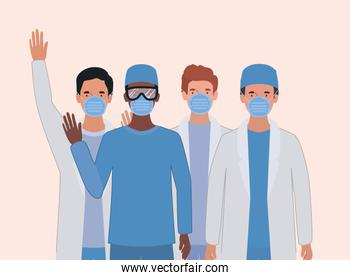 Men doctors with uniforms masks and glasses vector design