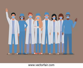 Men and women doctors with uniforms masks and glasses vector design