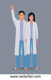 Man and woman doctor with uniform vector design