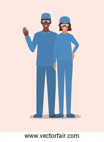 Man and woman doctor with uniform and glasses vector design