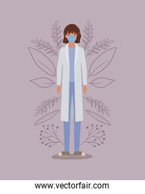 Woman doctor with uniform and mask vector design