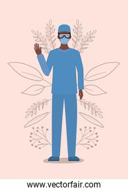 Man doctor with uniform mask and glasses vector design