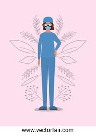 Woman doctor with uniform mask and glasses vector design
