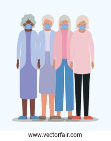 Elders women with masks vector design