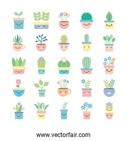 Isolated kawaii plants inside pots flat style icon set vector design