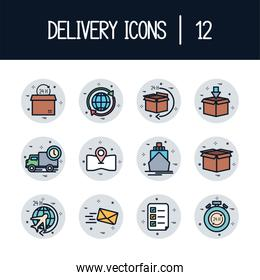 Isolated 12 delivery fill block style icon set vector design