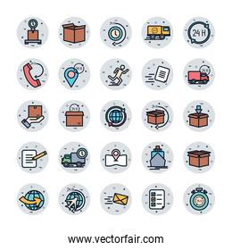 Isolated delivery fill block style icon set vector design