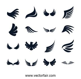 Isolated wings and eagle silhouette style icon set vector design