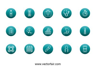Healthy lifestyle block gradient style icon set vector design