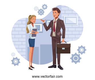 young business couple workers characters