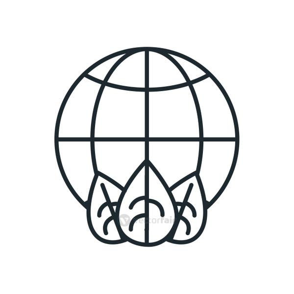 Isolated global sphere with leaves line style icon vector design