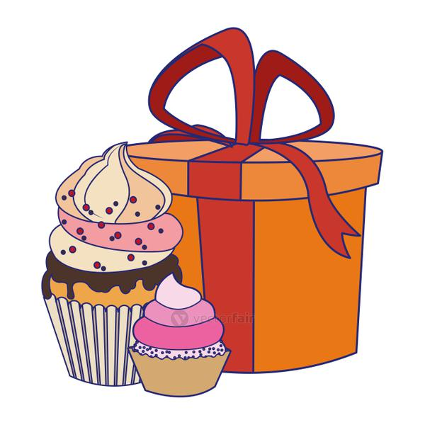 gift box with sweet cupcakes icon