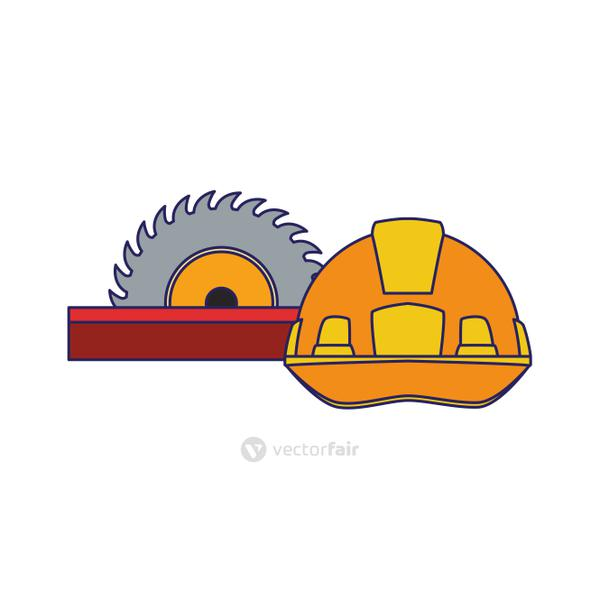 saw and safety helmet icon, colorful design
