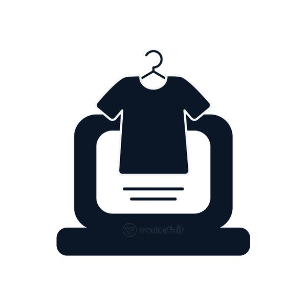 laptop and tshirt silhouette style icon vector design