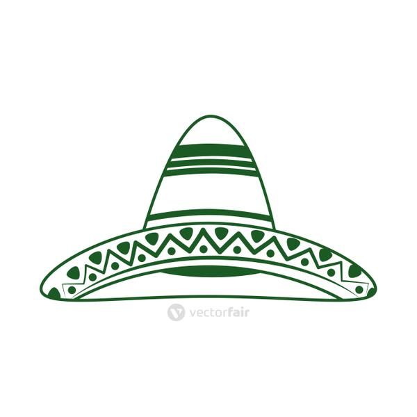traditional hat cinco de mayo mexican celebration line style icon
