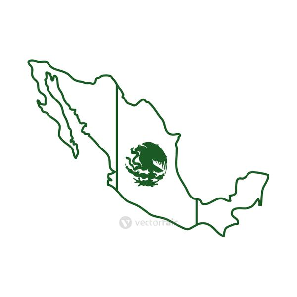 mexican flag in map cinco de mayo celebration line style icon