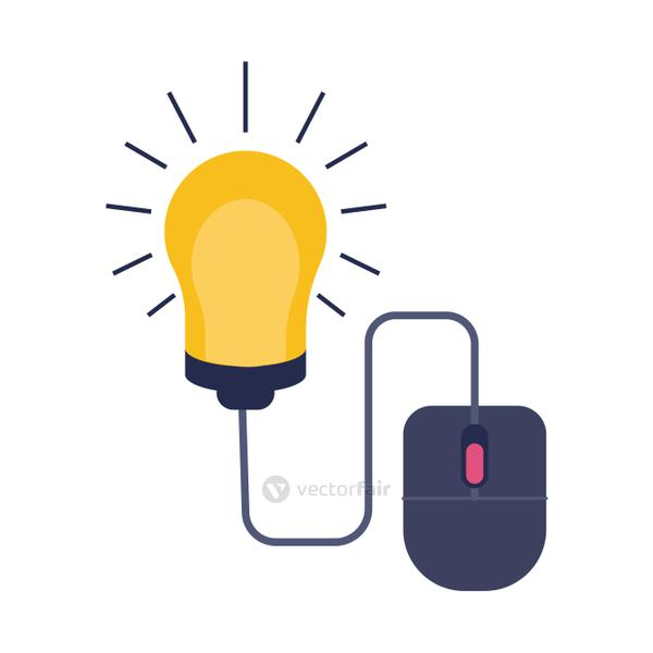 mouse with bulb education online flat style