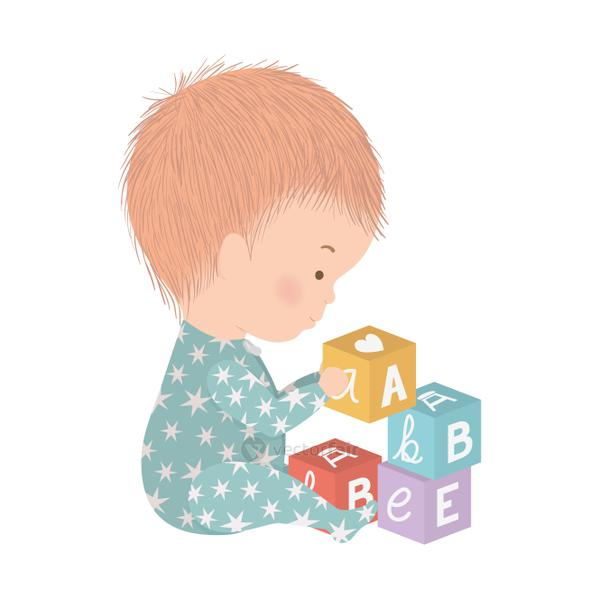 Cute baby boy with cubes vector design
