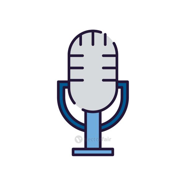 Isolated music microphone fill style icon vector design