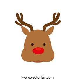 face of reindeer animal isolated icon